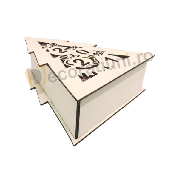 Cutie din lemn pentru cadou de Craciun - model bradut 7
