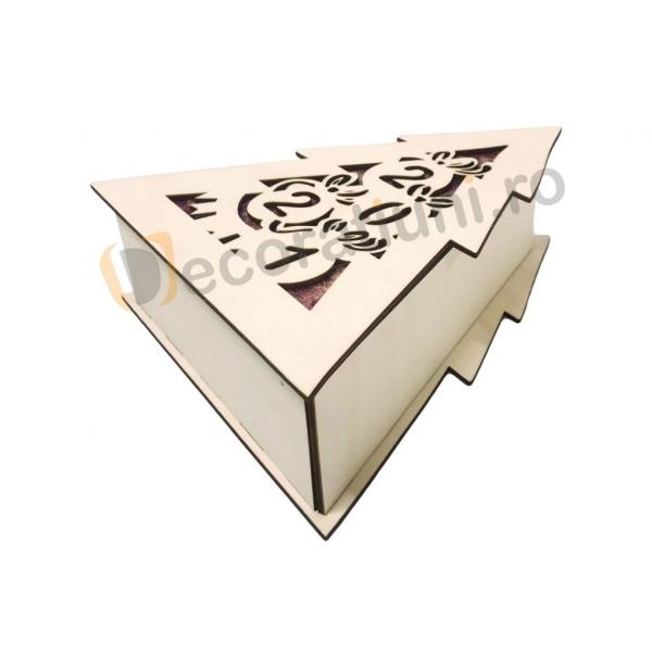 Cutie din lemn pentru cadou de Craciun - model bradut 9