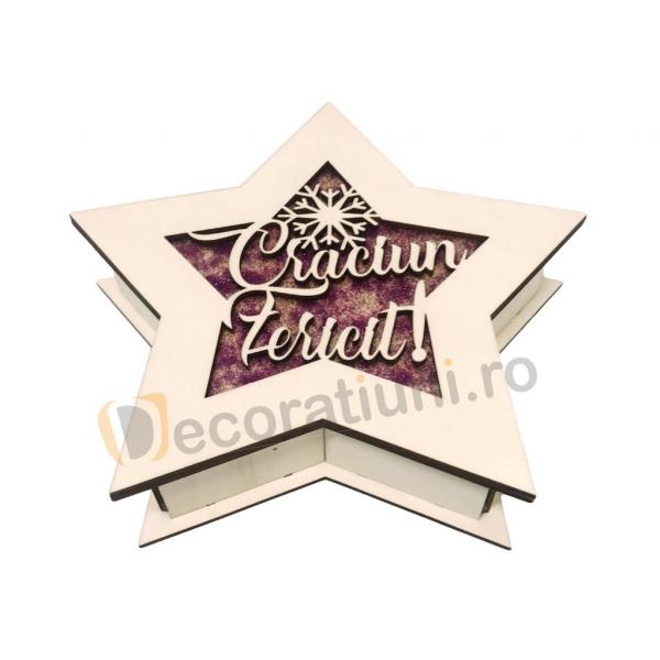 Cutie de lemn pentru cadou - model stea 1
