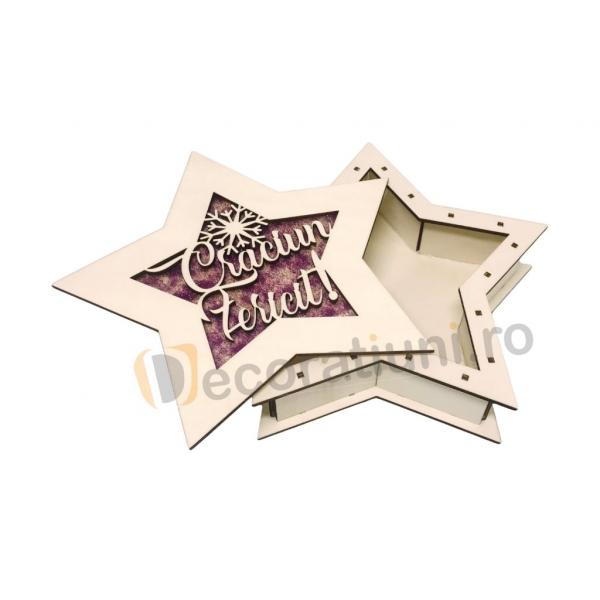Cutie de lemn pentru cadou - model stea 2