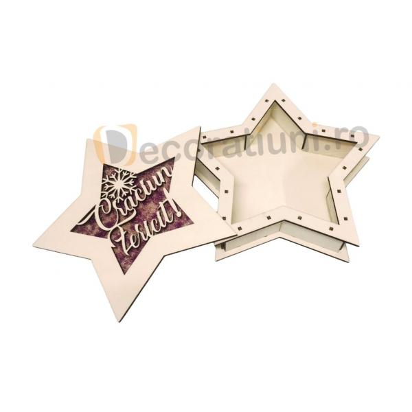 Cutie de lemn pentru cadou - model stea 8