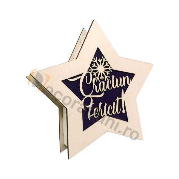 Cutie de lemn pentru cadou - model stea 0