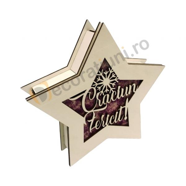 Cutie de lemn pentru cadou - model stea 3
