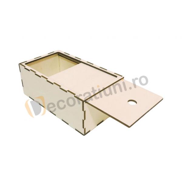 Cutie din lemn dreptunghiulara cu capac pe sina 0