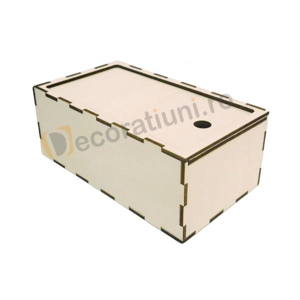 Cutie din lemn dreptunghiulara cu capac pe sina 4