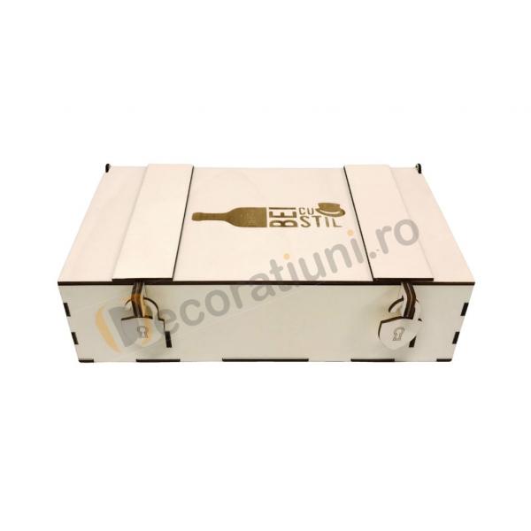 Cutie din lemn pentru 2 sticle de vin - model lada 4