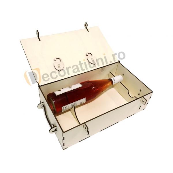 Cutie din lemn pentru 2 sticle de vin - model lada 3