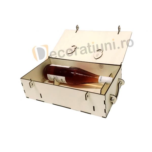 Cutie din lemn pentru 2 sticle de vin - model lada 6