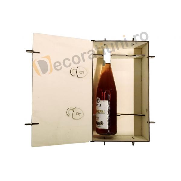Cutie din lemn pentru 2 sticle de vin - model lada 8