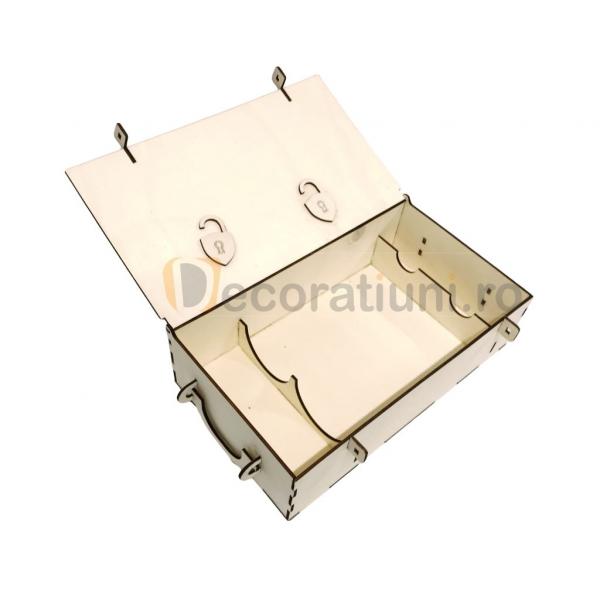 Cutie din lemn pentru 2 sticle de vin - model lada 7