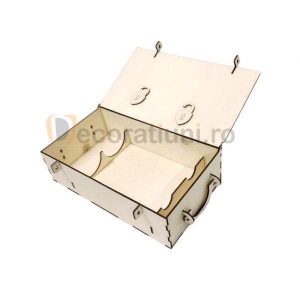 Cutie din lemn pentru 2 sticle de vin - model lada 1