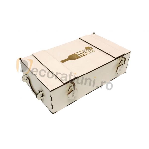 Cutie din lemn pentru 2 sticle de vin - model lada 0