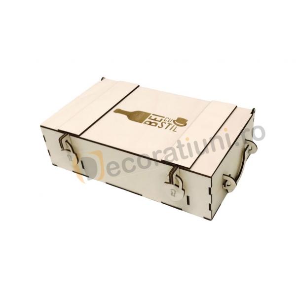 Cutie din lemn pentru 2 sticle de vin - model lada 5