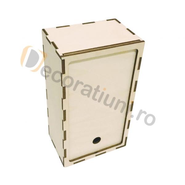 Cutie din lemn dreptunghiulara cu capac pe sina 1
