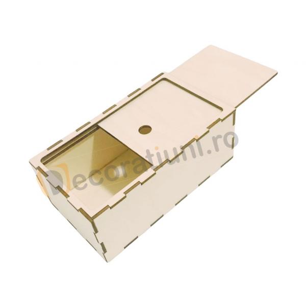 Cutie din lemn dreptunghiulara cu capac pe sina 2