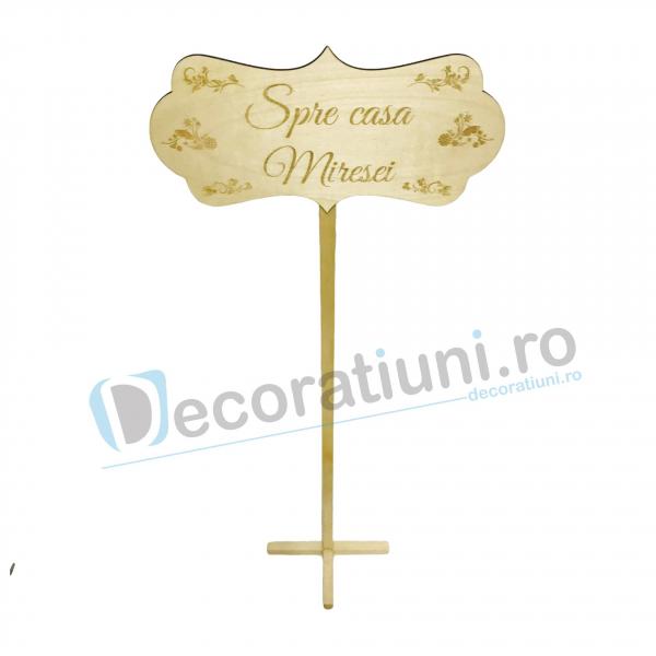 Panou decorativ din lemn pentru nunta - model Spre casa Miresei 2