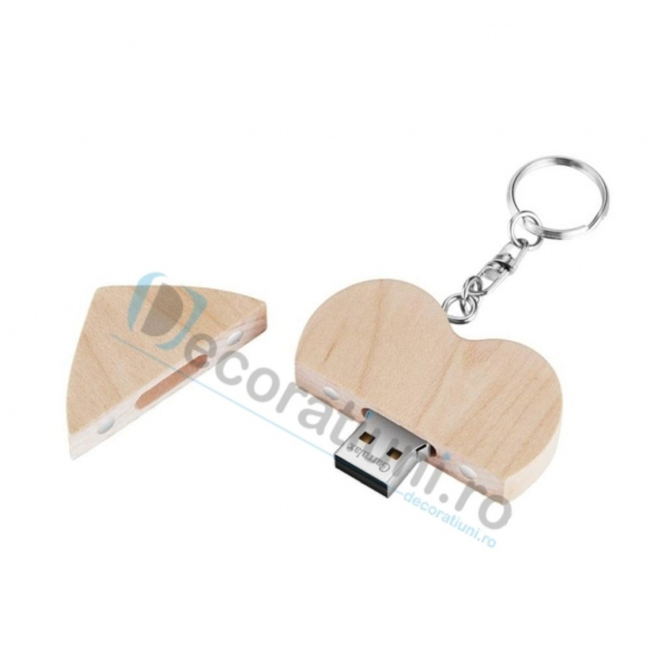 Stick usb inima si cutie din lemn - lemn artar 3
