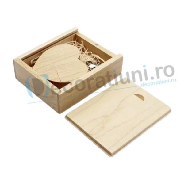 Stick usb inima si cutie din lemn - lemn artar 1