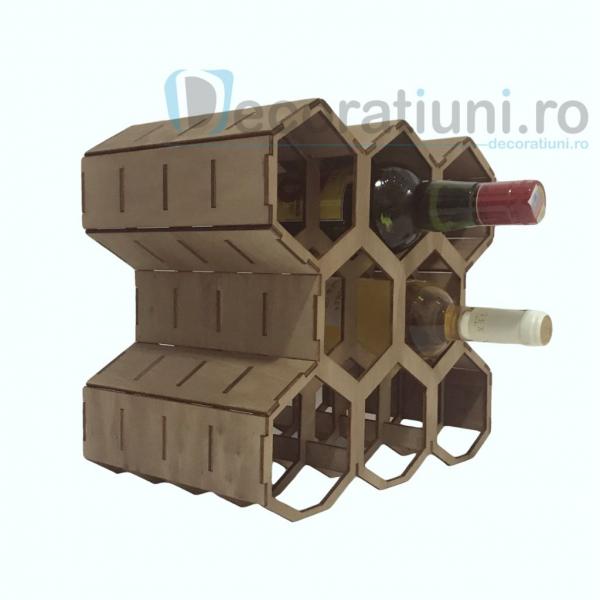 Suport pentru sticle de vin din lemn - model fagure 1
