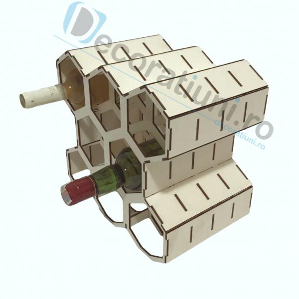 Suport pentru sticle de vin din lemn - model fagure 2