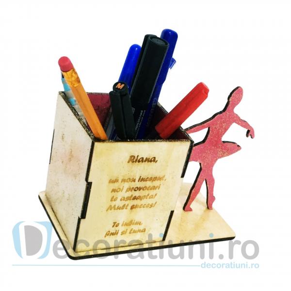 Suport pixuri din lemn pentru copii - model Ballerina Box 2