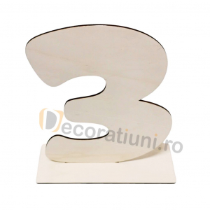 Cifra volumetrica din lemn cu suport - 40cm inaltime1
