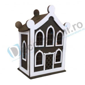 Cutie de dar pentru nunta din lemn - model Dulce Casa0
