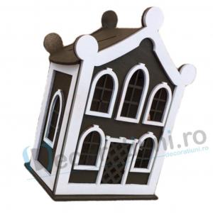 Cutie de dar pentru nunta din lemn - model Dulce Casa1