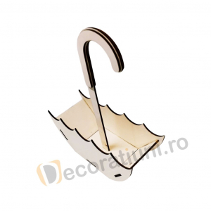 Cutie decorativa din lemn sub forma de cos - model Umbrella2