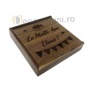 Cutie din lemn pentru fotografii cu stick usb - lemn nuc0