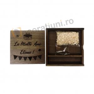 Cutie din lemn pentru fotografii cu stick usb - lemn nuc2