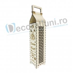 Cutie din lemn pentru sticla de vin - model cu maner2