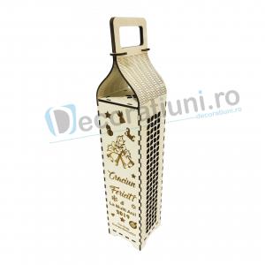 Cutie din lemn pentru sticla de vin - model cu maner0