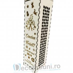 Cutie din lemn pentru sticla de vin - model cu maner3