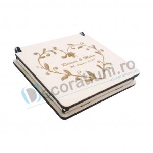 Cutie din lemn pentru verighete - model Inima0