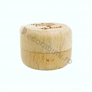 Cutie din lemn rotunda pentru verighete4
