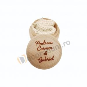 Cutie din lemn rotunda pentru verighete2