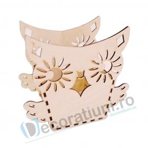 Cutie ornament din lemn - model Owl0