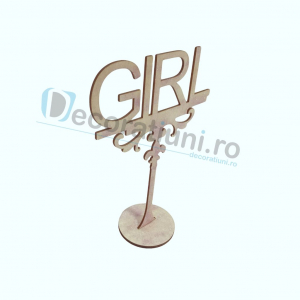 Decoratiune din lemn pentru botez - model GIRL2