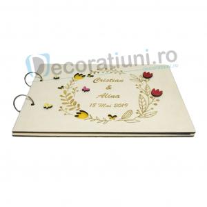 Guestbook din lemn personalizat, guestbook coperti - model ramura cu flori si fluturi [1]