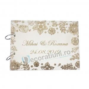 Guestbook din lemn personalizat, guestbook nunta - model cu flori0