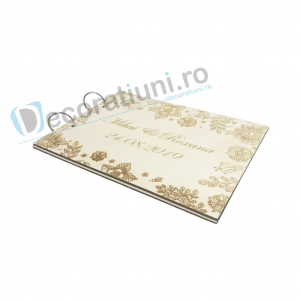 Guestbook din lemn personalizat, guestbook nunta - model cu flori3