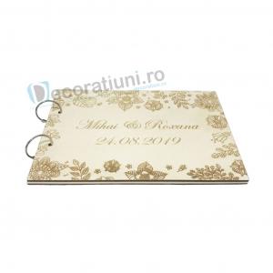 Guestbook din lemn personalizat, guestbook nunta - model cu flori1