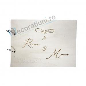 Guestbook din lemn personalizat, guestbook nunta - model iubire infinita0