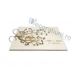 Guestbook din lemn personalizat, guestbook nunta - model pom si bufnite1