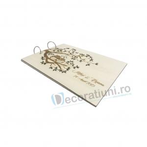 Guestbook din lemn personalizat, guestbook nunta - model pom si bufnite3