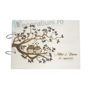 Guestbook din lemn personalizat, guestbook nunta - model pom si bufnite0