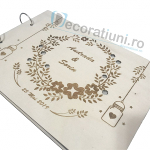 Guestbook din lemn personalizat, guestbook nunta - model ramura cu flori si candele agatate4