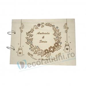 Guestbook din lemn personalizat, guestbook nunta - model ramura cu flori si candele agatate0