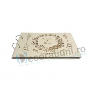 Guestbook din lemn personalizat, guestbook nunta - model ramura cu flori si candele agatate1